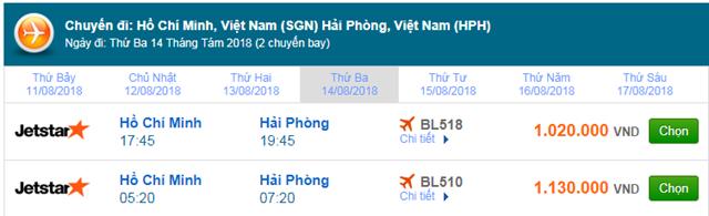 Vé máy bay TPHCM đi Hải Phòng