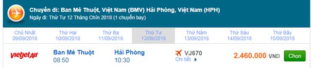 Vé máy bay Ban Mê Thuột đi Hải Phòng