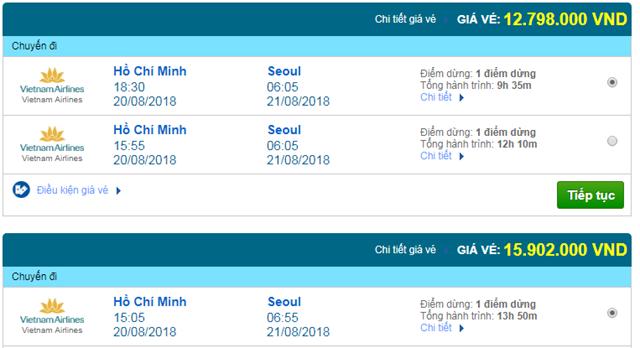 Vé máy bay Vietnam Airlines đi Seoul