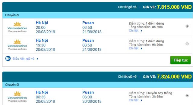 Vé máy bay Vietnam Airlines đi Busan