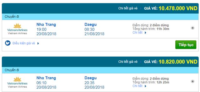 Vé máy bay Vietnam Airlines đi Daegu