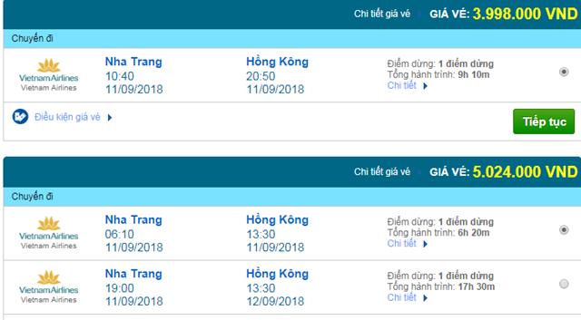 Vé máy bay Vietnam Airlines đi Hong Kong