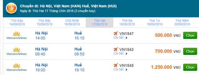 Vé máy bay Vietnam Airlines Hà Nội đi Huế
