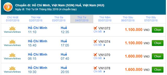 Vé máy bay Vietnam Airlines TPHCM đi Huế