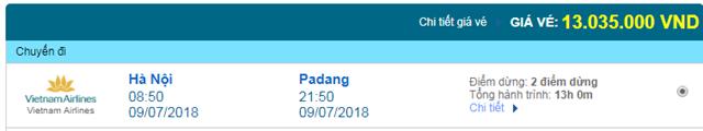 Vé máy bay Vietnam Airlines đi Padang, Indonesia