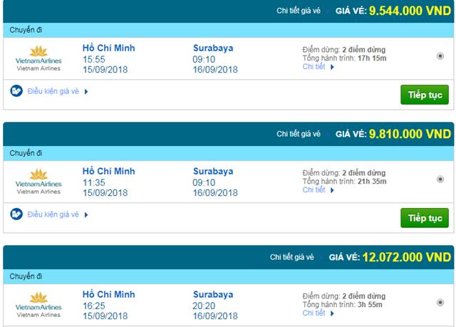 Vé máy bay Vietnam Airlines đi Surabaya, Indonesia