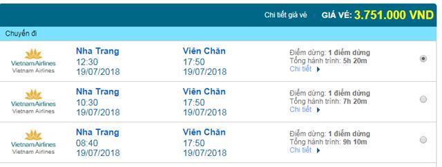 Vé máy bay Vietnam Airlines đi Viên Chăn, Lào