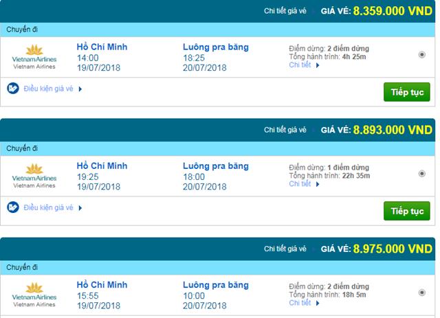 Vé máy bay Vietnam Airlines đi Luang Prabang, Lào