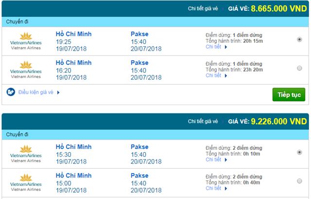 Vé máy bay Vietnam Airlines đi Pakse, Lào