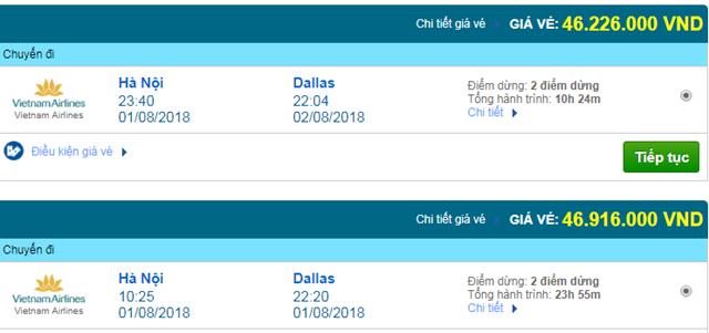 Vé máy bay Vietnam Airlines đi Dallas, Mỹ
