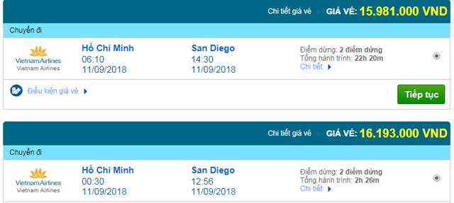 Vé máy bay Vietnam Airlines đi San Diego, Mỹ