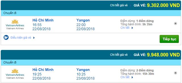 Vé máy bay Vietnam Airlines đi Yangon, Myanmar