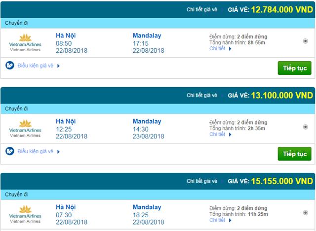 Vé máy bay Vietnam Airlines đi Mandalay, Myanmar