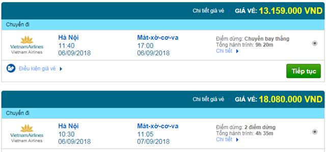 Vé máy bay Vietnam Airlines đi Moscow, Nga