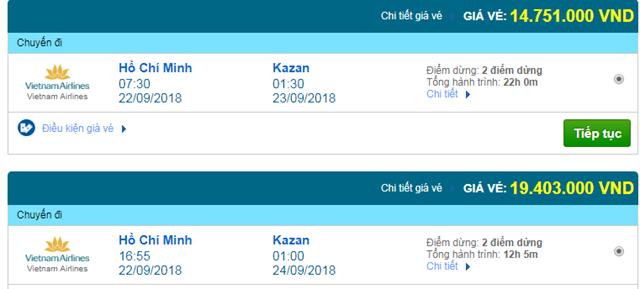 Vé máy bay Vietnam Airlines đi Kazan, Nga