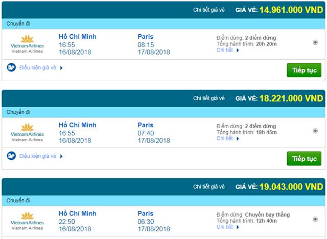 Vé máy bay Vietnam Airlines đi Paris, Pháp