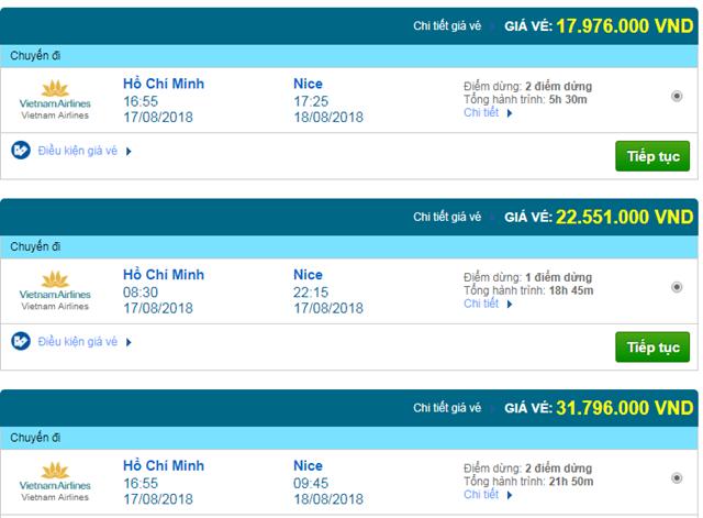 Vé máy bay Vietnam Airlines đi Nice, Pháp