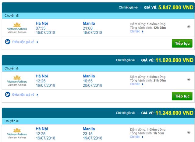 Vé máy bay Vietnam Airlines đi Manila, Philippines