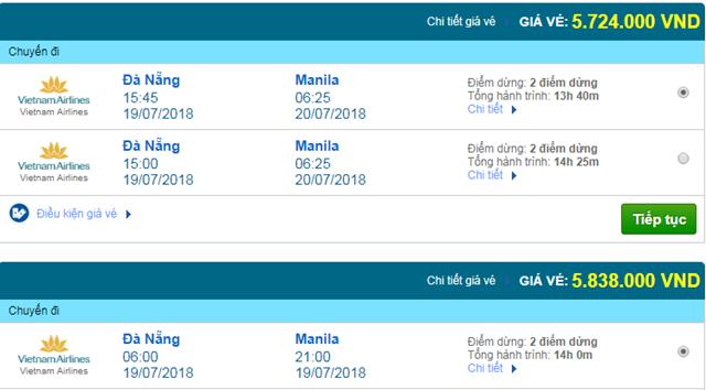 Vé máy bay Đà Nẵng đi Manila, Philippines