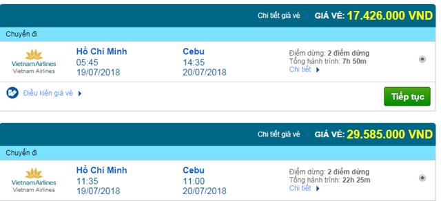 Vé máy bay Vietnam Airlines đi Cebu, Philippines