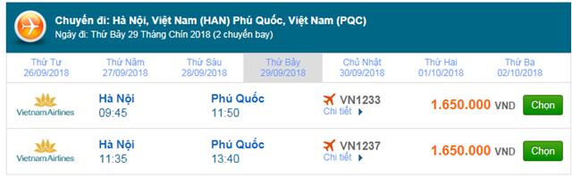 Vé máy bay Vietnam Airlines Hà Nội đi Phú Quốc