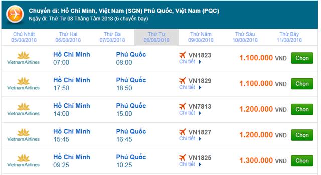 Vé máy bay Vietnam Airlines TPHCM đi Phú Quốc