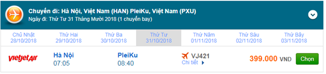 Vé máy bay Vietjet Air đi Pleiku