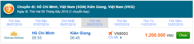 Vé máy bay Vietnam AIrlines Sài Gòn đi Rạch Giá