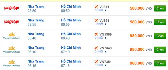 Vé máy bay Nha Trang đi Sài Gòn