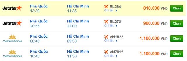 Vé máy bay Phú Quốc đi Sài Gòn