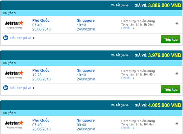Vé máy bay Phú Quốc đi Singapore