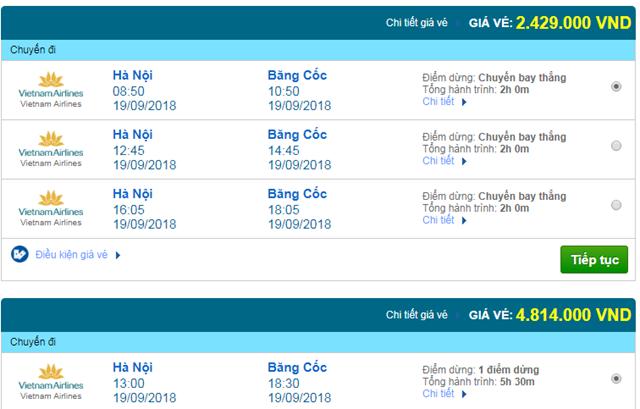 Vé máy bay Vietnam Airlines đi Bangkok, Thái Lan