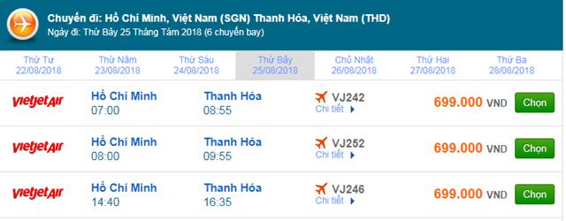 Vé máy bay TPHCM đi Thanh Hóa