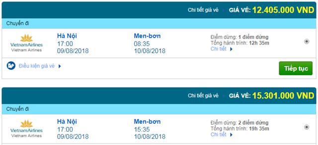 Vé máy bay Vietnam Airlines đi Melbourne, Úc
