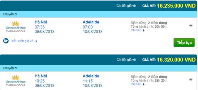 Vé máy bay Vietnam Airlines đi Adelaide, Úc