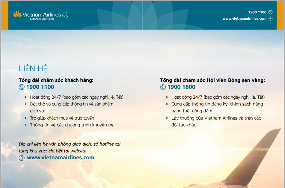 Số điện thoại HOTLINE tổng đài Vietnam Airlines