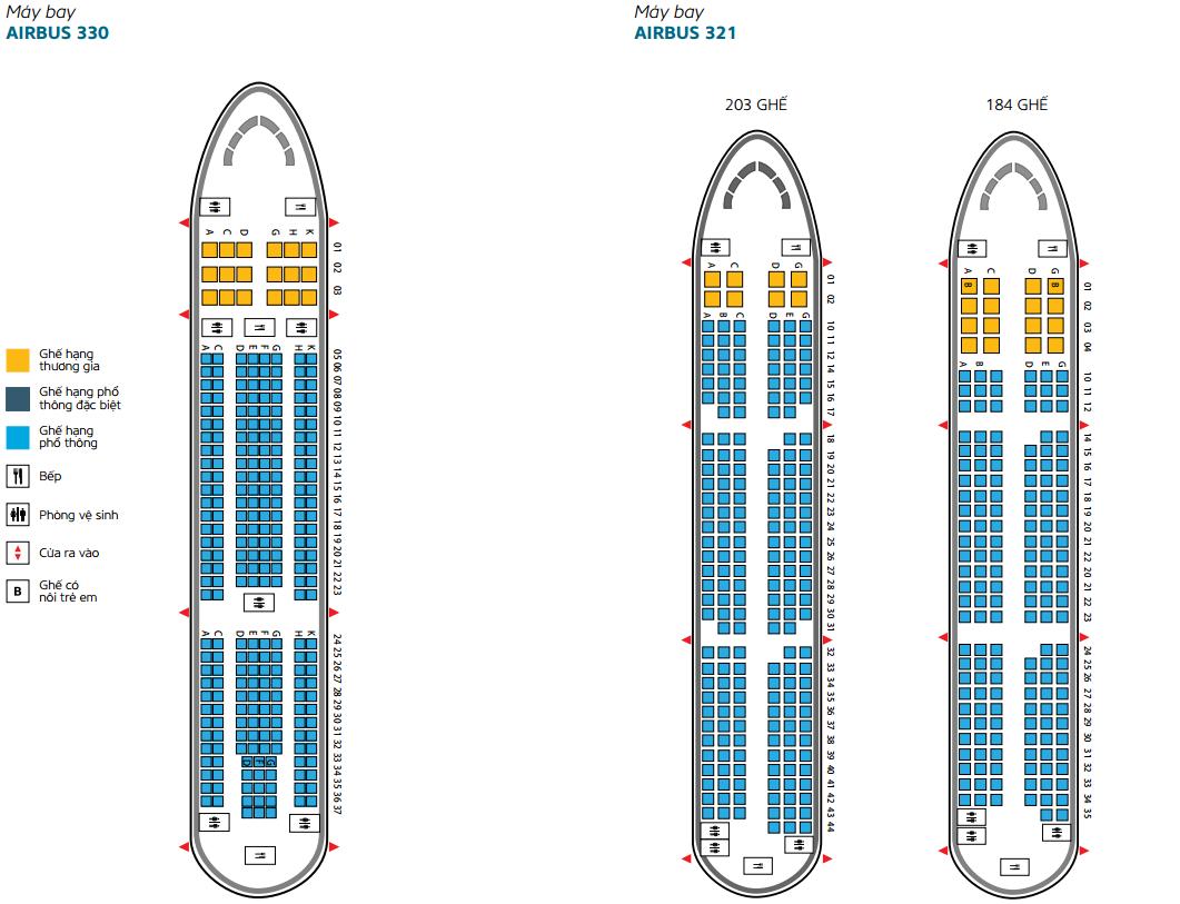 Sơ đồ ghế ngồi trên máy bay Vietnam Airlines AIRBUS 330