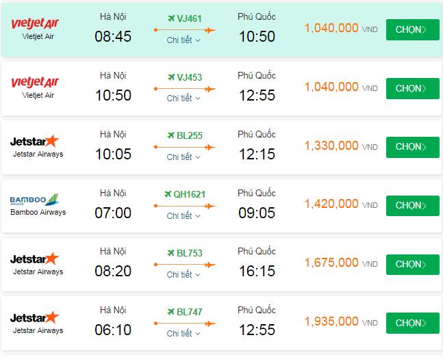 Giá vé đi Phú Quốc tháng 8 bao nhiêu?