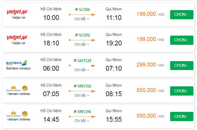 Giá vé đi Quy Nhơn tháng 11 bao nhiêu?